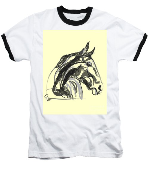 Baseball T-Shirt featuring the painting horse - Apple digital by Go Van Kampen