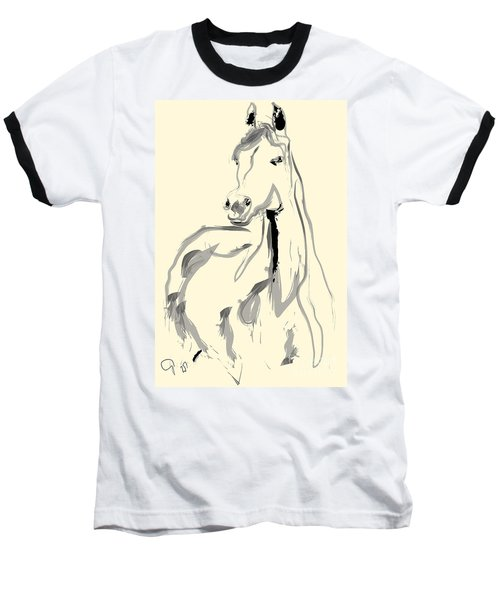 Baseball T-Shirt featuring the painting Horse - Arab by Go Van Kampen