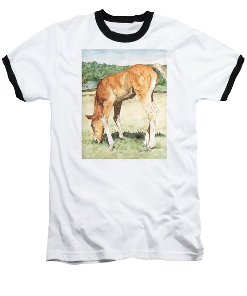 Horse Art Long-legged Colt Painting Equine Watercolor Ink Foal Rural Field Artist K. Joann Russell  Baseball T-Shirt