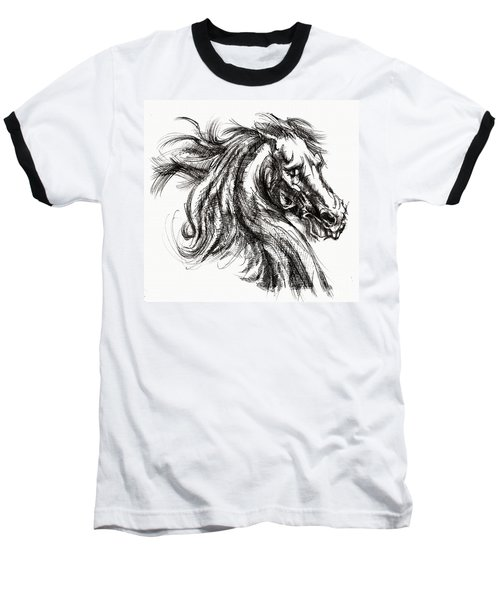 Horse Face Ink Sketch Drawing - Inventing A Horse Baseball T-Shirt