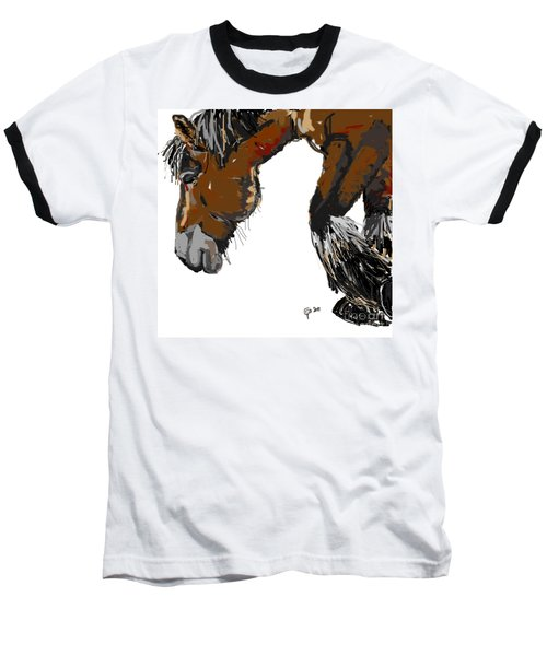 Baseball T-Shirt featuring the painting horse - Guus by Go Van Kampen