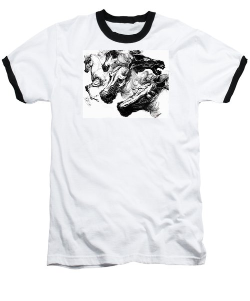 Horse Ink Drawing  Baseball T-Shirt