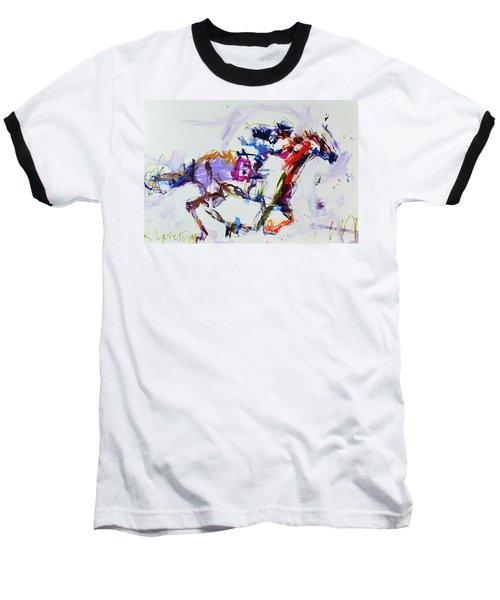 Horse Racing Print Baseball T-Shirt by Robert Joyner
