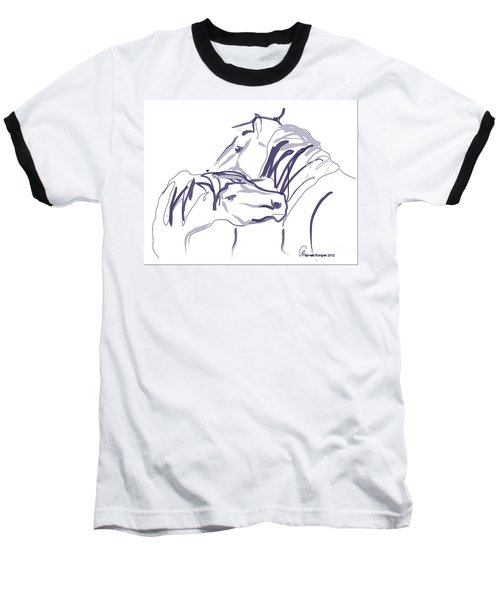 Baseball T-Shirt featuring the painting Horse - Together 10 by Go Van Kampen