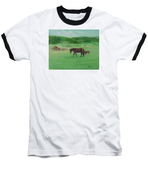 Horses Rural Pasture Western Landscape Original Oil Colorful Art Oregon Artist K. Joann Russell Baseball T-Shirt