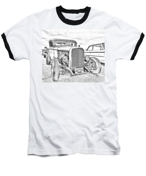 Hot Rod Faux Sketch Baseball T-Shirt