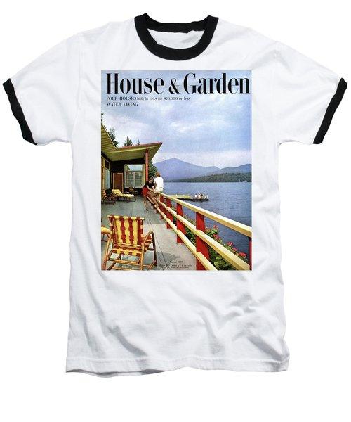 House & Garden Cover Of Women Sitting On The Deck Baseball T-Shirt