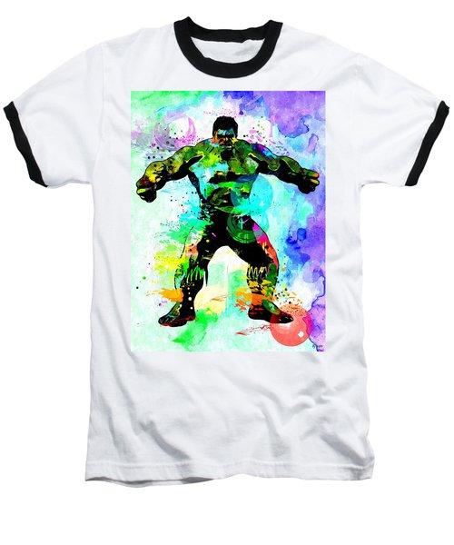 Hulk Watercolor Baseball T-Shirt by Daniel Janda