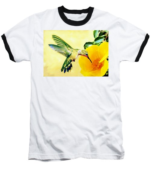 Hummingbird And California Poppy Baseball T-Shirt
