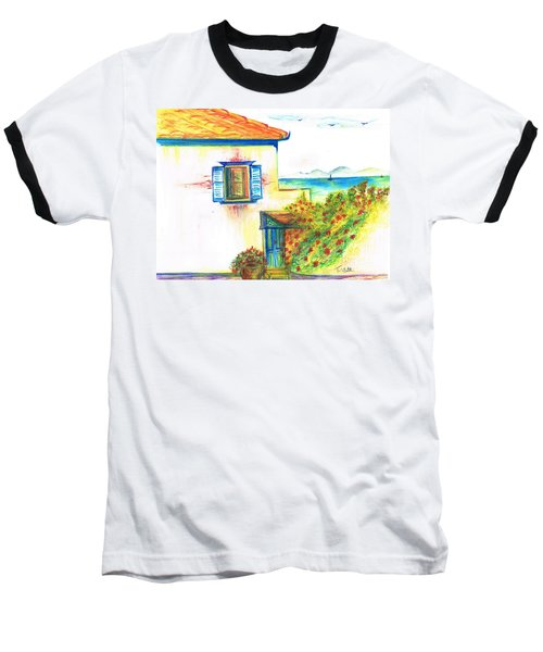 Baseball T-Shirt featuring the painting Greek Island Hydra- Home by Teresa White
