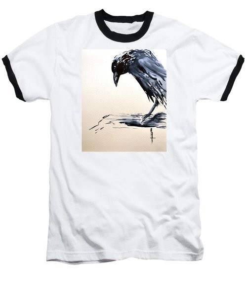 Baseball T-Shirt featuring the painting I Am A Crow by Beverley Harper Tinsley