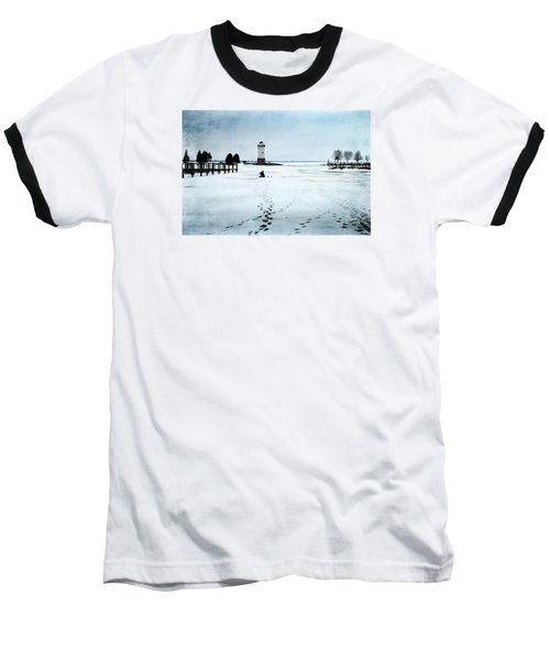 Ice Fishing Solitude 2 Baseball T-Shirt by Janice Adomeit