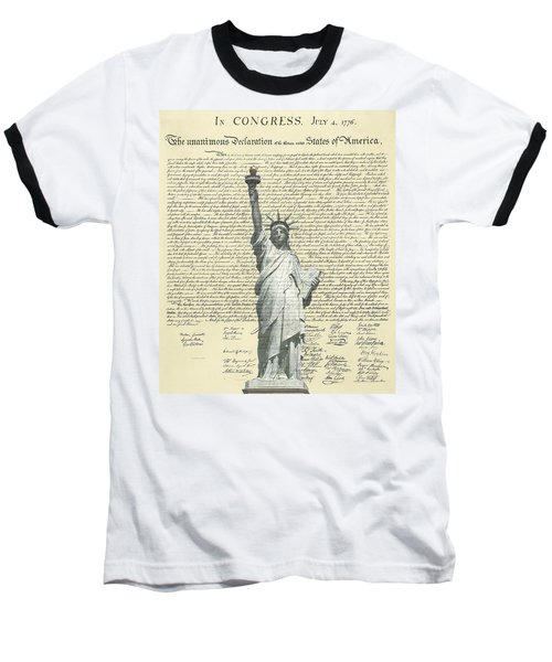 Icon Of Freedom Baseball T-Shirt by Charles Beeler