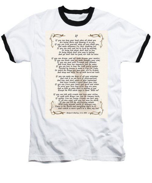 If Poem By Rudyard Kipling Baseball T-Shirt by Olga Hamilton
