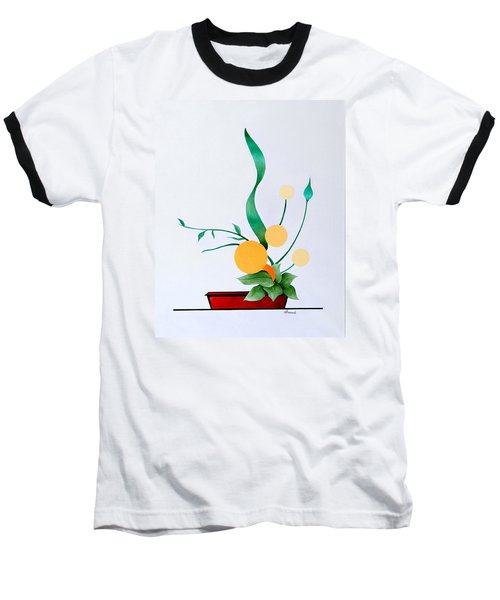 Ikebana #1 Red Pot Baseball T-Shirt by Thomas Gronowski
