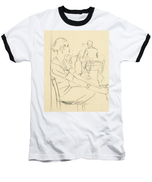 Illustration Of A Woman Sitting Down Baseball T-Shirt