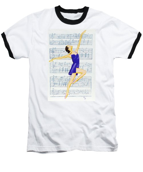 Baseball T-Shirt featuring the painting In Sync With The Music by Margaret Harmon