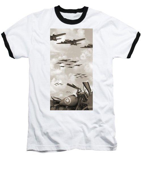 Indian 841 And The B-17 Panoramic Sepia Baseball T-Shirt
