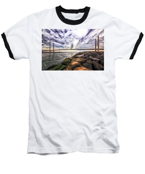 Indian River Bridge Clouds Baseball T-Shirt