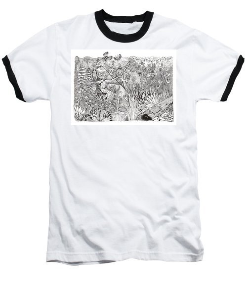 Inky Orchid Pond Baseball T-Shirt