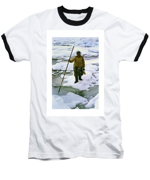 Baseball T-Shirt featuring the photograph Inuit Seal Hunter Barrow Alaska July 1969 by California Views Mr Pat Hathaway Archives