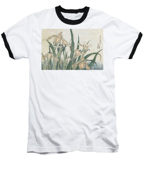 Iris Flowers And Grasshopper Baseball T-Shirt by Hokusai