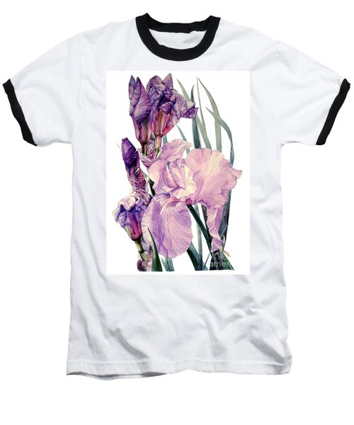 Watercolor Of An Elegant Tall Bearded Iris In Pink And Purple I Call Iris Joan Sutherland Baseball T-Shirt
