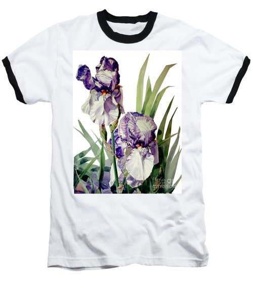 Watercolor Of A Tall Bearded Iris In Violet And White I Call Iris Selena Marie Baseball T-Shirt