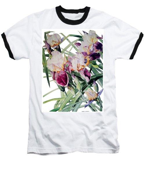 Watercolor Of Tall Bearded Irises I Call Iris Vivaldi Spring Baseball T-Shirt