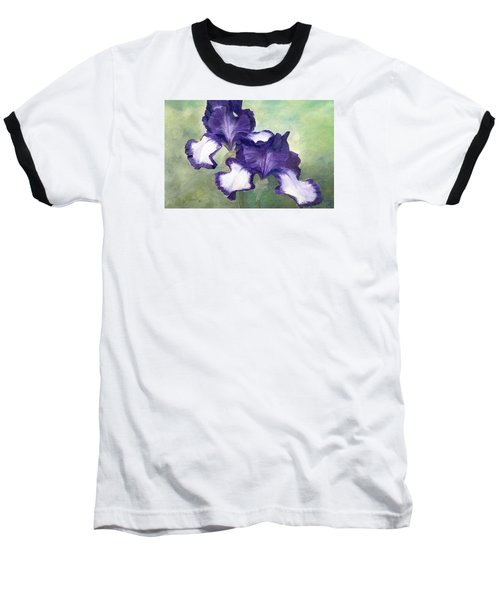 Irises Duet In Purple Flowers Colorful Original Painting Garden Iris Flowers Floral K. Joann Russell Baseball T-Shirt