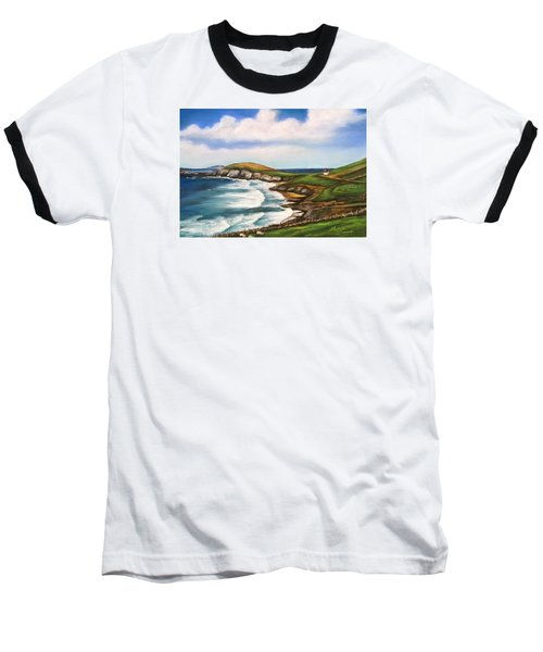 Baseball T-Shirt featuring the painting Dingle Peninsula Irish Coastline by Melinda Saminski