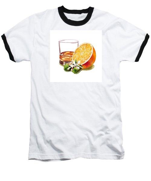 Baseball T-Shirt featuring the painting Irish Whiskey And Orange by Irina Sztukowski