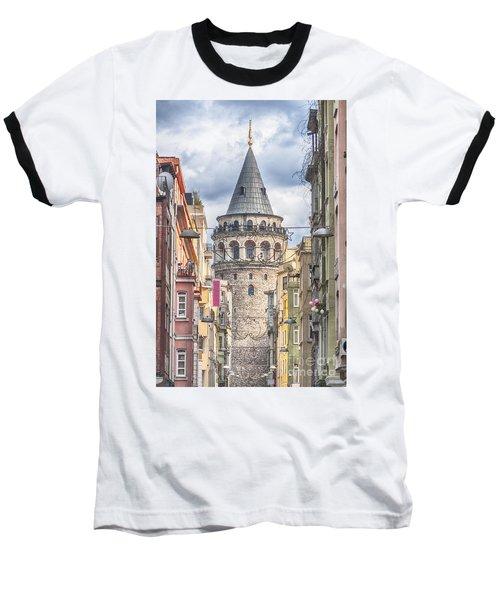 Istanbul Galata Tower Baseball T-Shirt by Antony McAulay