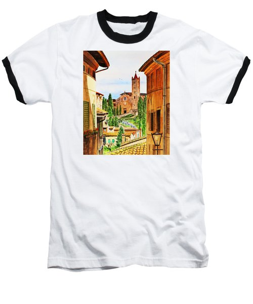 Baseball T-Shirt featuring the painting Italy Siena by Irina Sztukowski