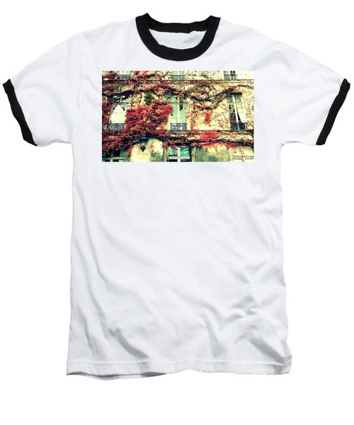 Ivy Growing On A Wall   Baseball T-Shirt
