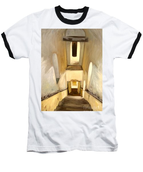 Baseball T-Shirt featuring the painting Jantar Mantar Staircase by Mukta Gupta