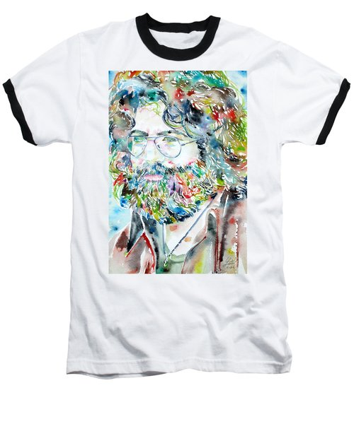 Jerry Garcia Watercolor Portrait.2 Baseball T-Shirt