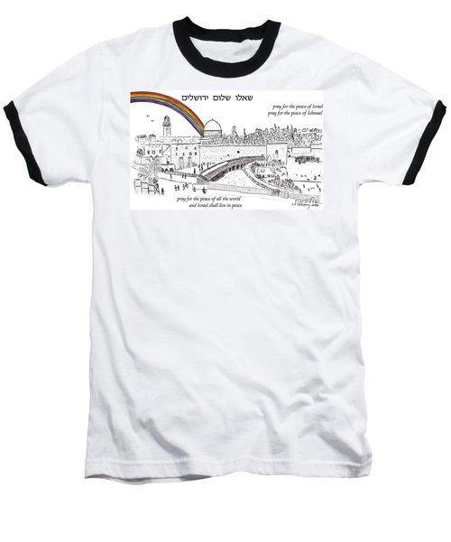 Jerusalem With Rainbow Baseball T-Shirt
