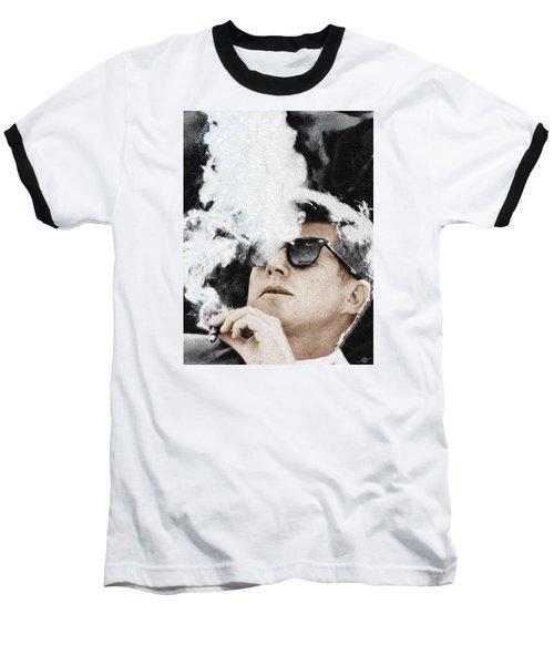 John F Kennedy Cigar And Sunglasses Baseball T-Shirt by Tony Rubino