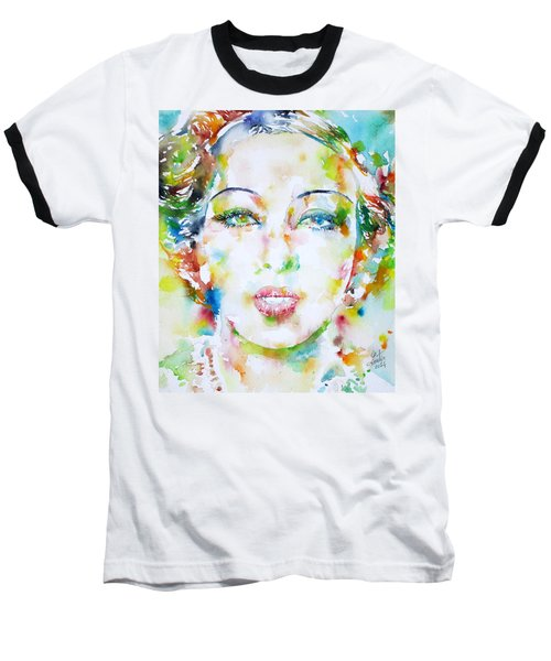 Josephine Baker - Watercolor Portrait Baseball T-Shirt by Fabrizio Cassetta