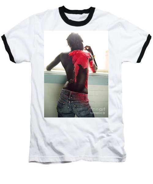 Baseball T-Shirt featuring the photograph Josephine Red by Rebecca Harman