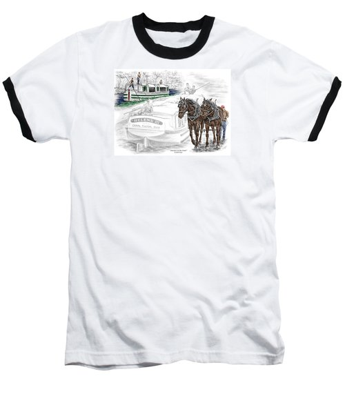 Journeys On The Canal - Canal Boat Print Color Tinted Baseball T-Shirt