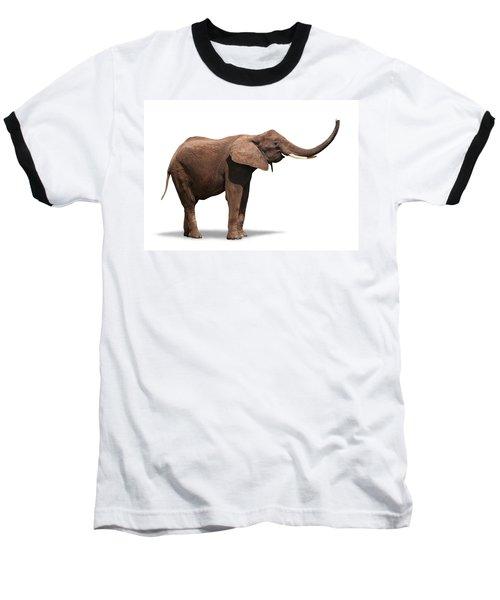 Joyful Elephant Isolated On White Baseball T-Shirt