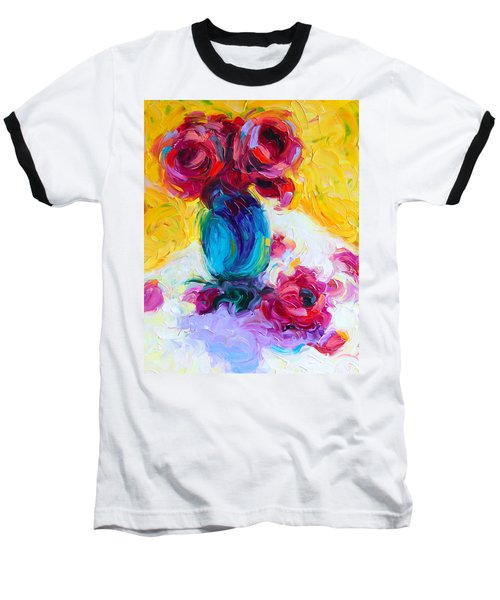 Just Past Bloom - Roses Still Life Baseball T-Shirt