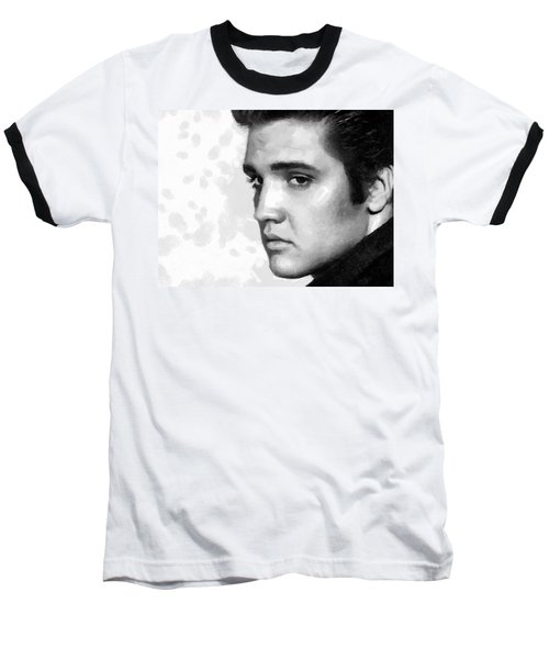 Baseball T-Shirt featuring the painting King Of Rock Elvis Presley Black And White by Georgi Dimitrov