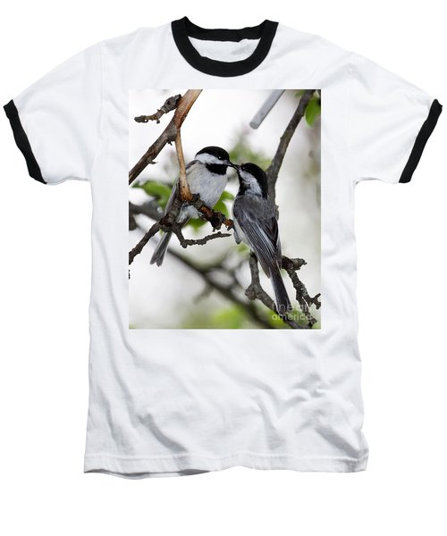 Kissing Chickadees Baseball T-Shirt
