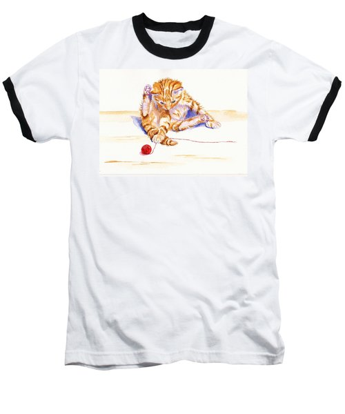 Kitten Interrupted Baseball T-Shirt