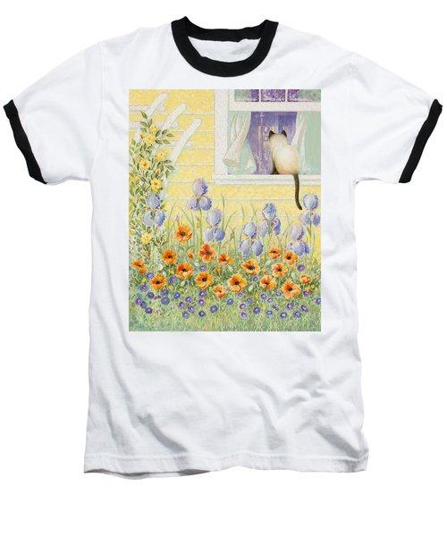 Kitty In The Window Baseball T-Shirt