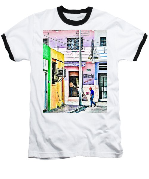 Baseball T-Shirt featuring the photograph La Farmacia by Jim Thompson
