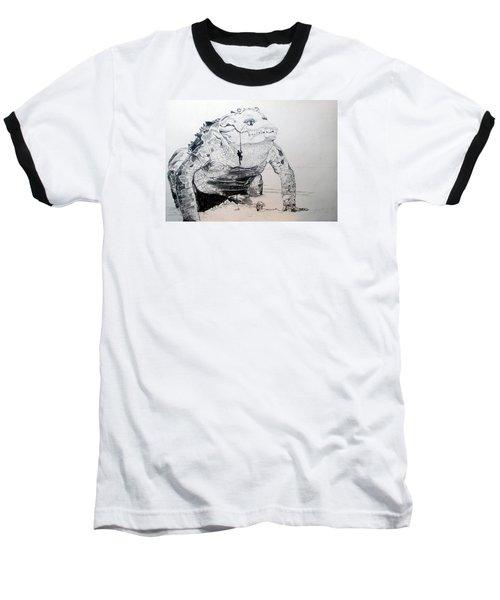 Baseball T-Shirt featuring the drawing Landing by Lazaro Hurtado